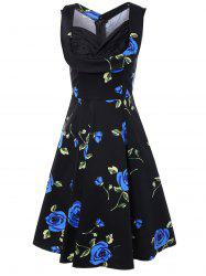 Sleeveless Shirred Floral Print Swing Dress Vintage Prom Dresses