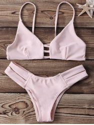 Strappy Two Piece Cut Out Bikini Set - YELLOWISH PINK