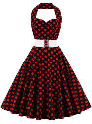 Halter Flare Polka Dot Dress