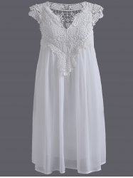 Plus Size Crochet Panel Short Formal Shift Dress - WHITE