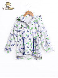 Drawstring High Low Leaf Print Hooded Jacket -