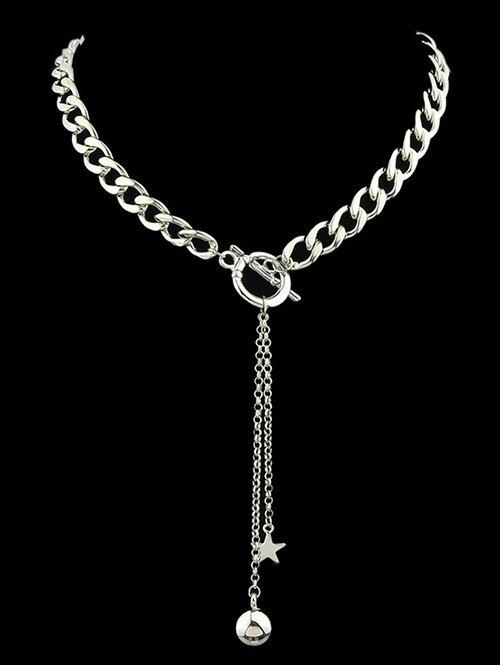 Alloy Pentagram Ball Chains NecklaceJEWELRY<br><br>Color: SILVER; Item Type: Pendant Necklace; Gender: For Women; Style: Classic; Shape/Pattern: Star; Weight: 0.110kg; Package Contents: 1 x Necklace;