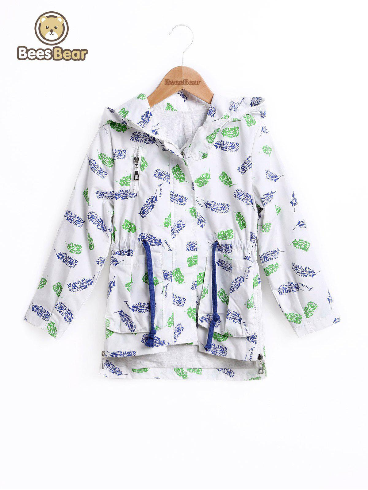 Fancy Drawstring High Low Leaf Print Hooded Jacket