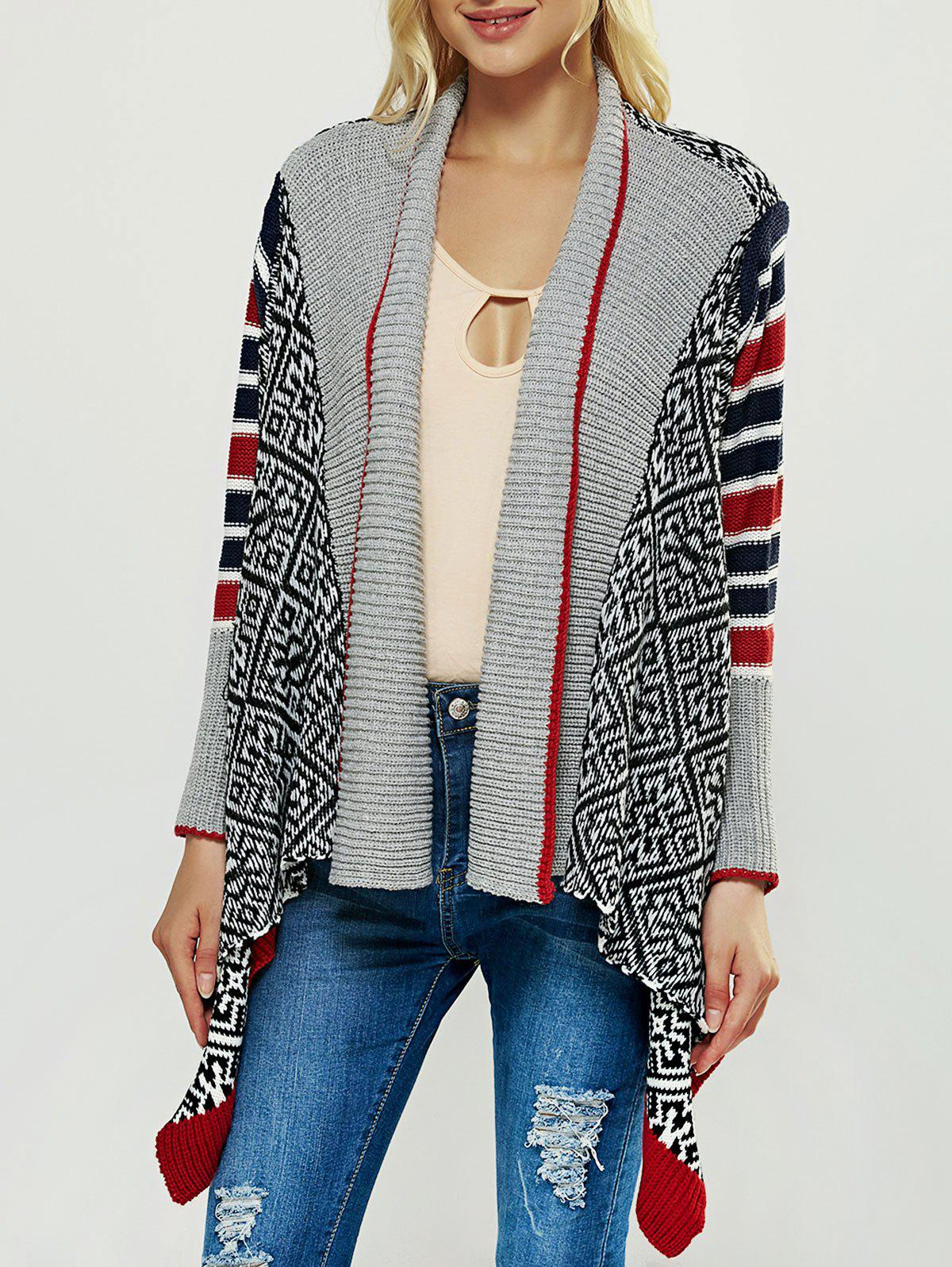 Fancy Geometric Print Asymmetric Cardigan