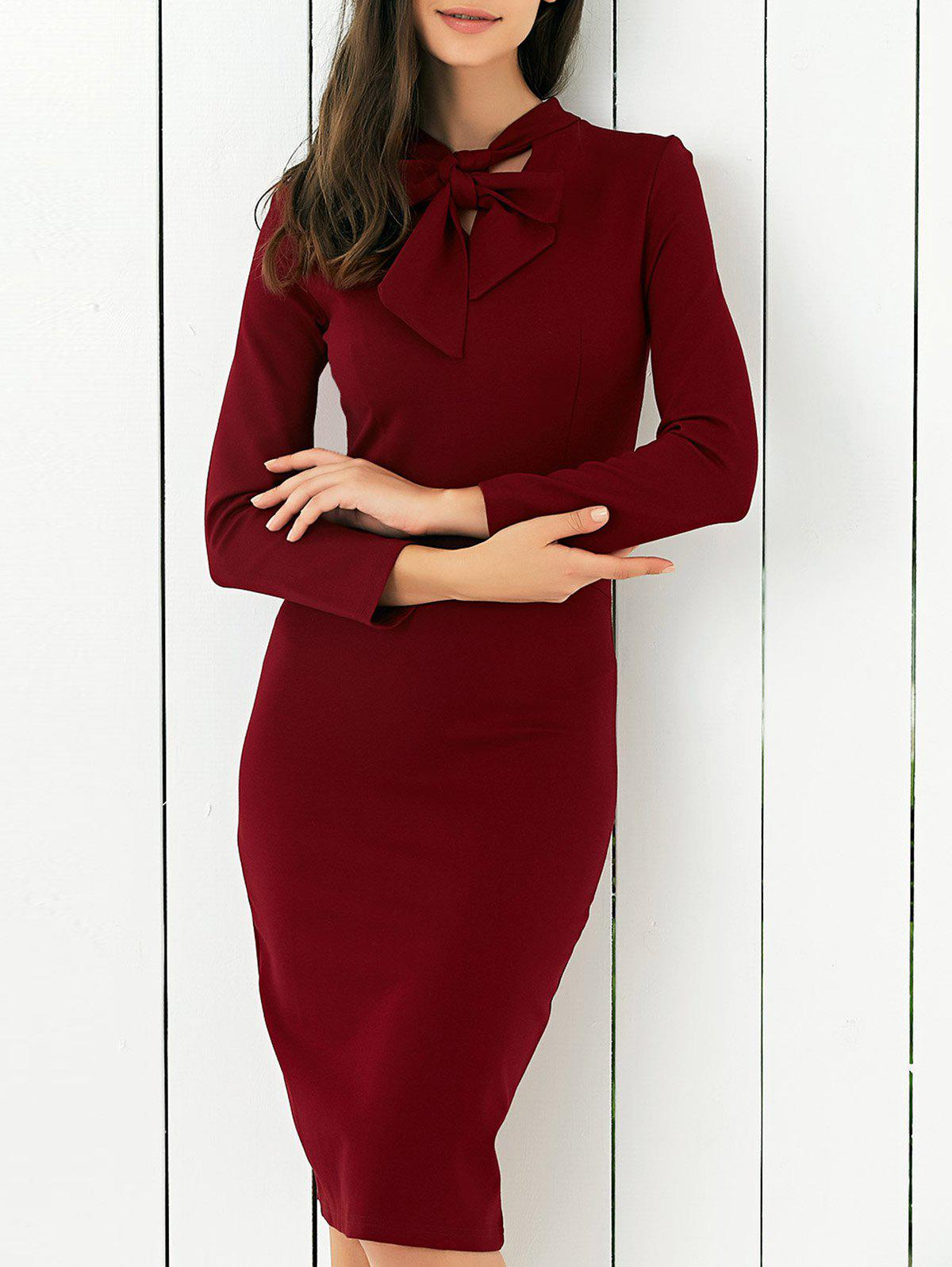 Store Bow Tie Concealed Zipper Bodycon Dress