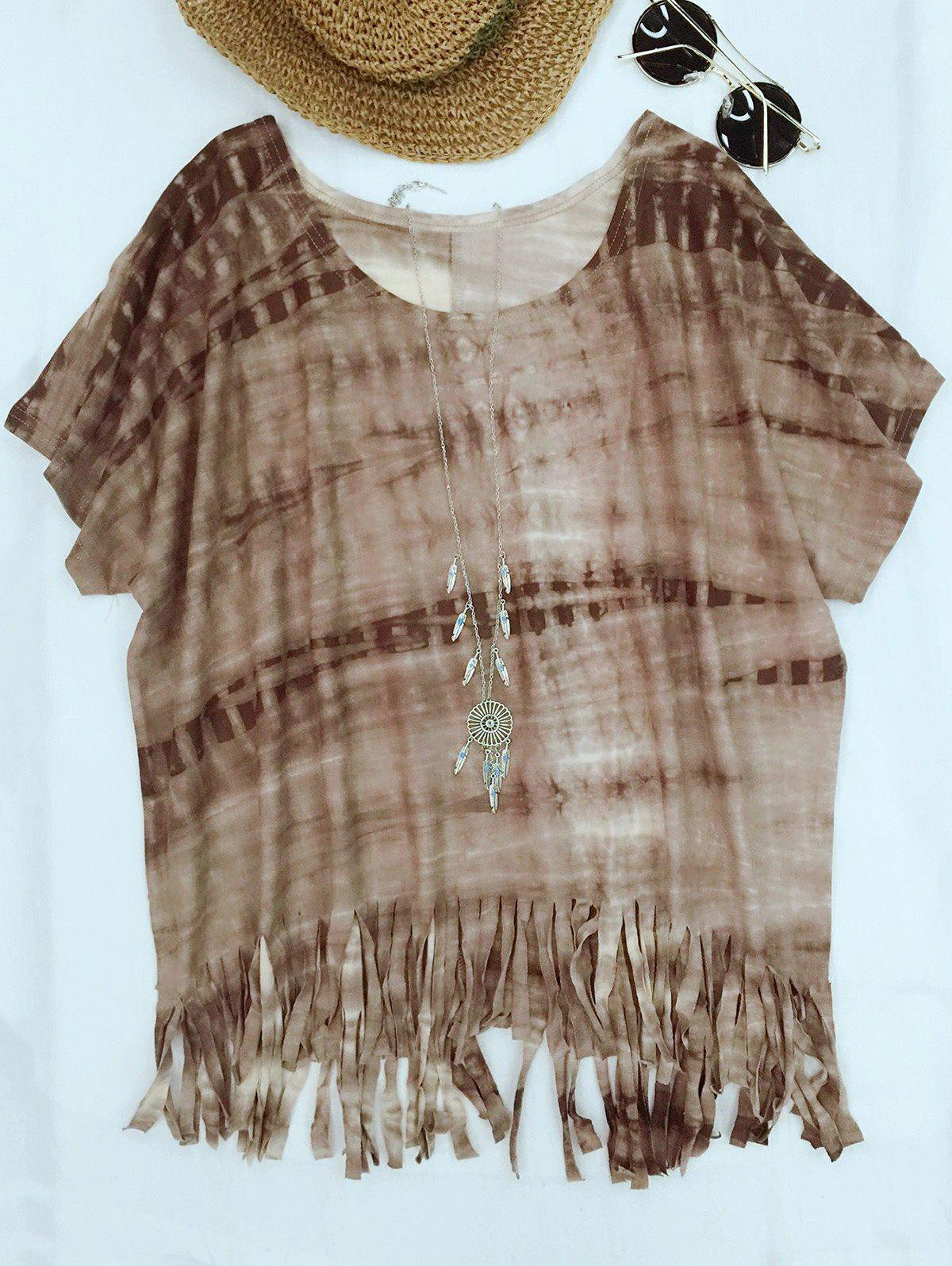 Sale Cute Round Neck Batwing Sleeve Tie-Dyed Tassels T-Shirt For Women