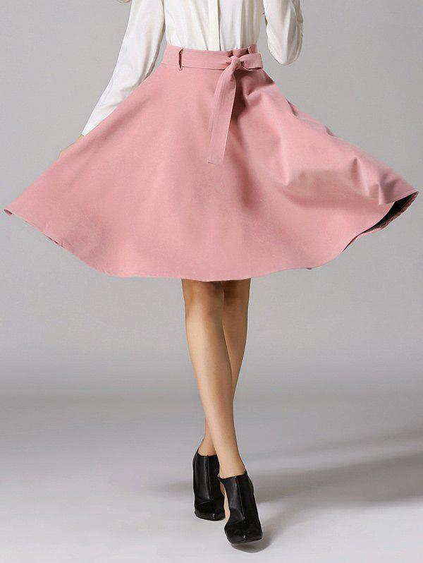 Fancy High Waist Pure Color Bowknot Skirt