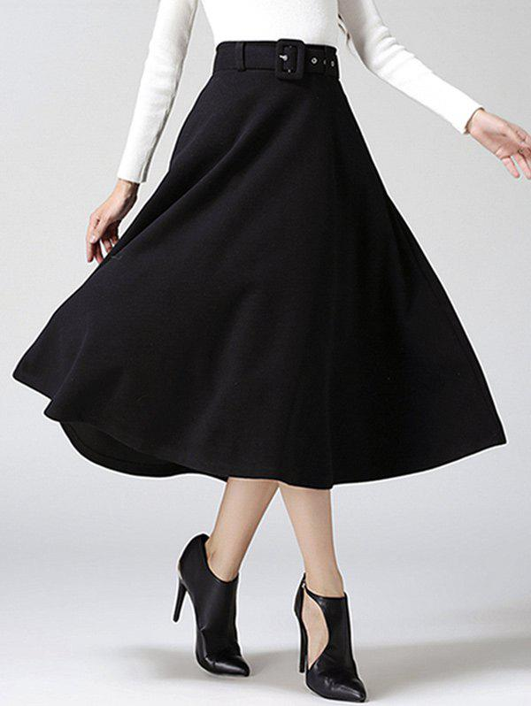 High Waist Pure Color Tweed Midi SkirtWOMEN<br><br>Size: S; Color: BLACK; Material: Cotton Blends,Wool; Length: Mid-Calf; Silhouette: A-Line; Pattern Type: Solid; Season: Fall,Winter; Weight: 0.733kg; Package Contents: 1 x Skirt;