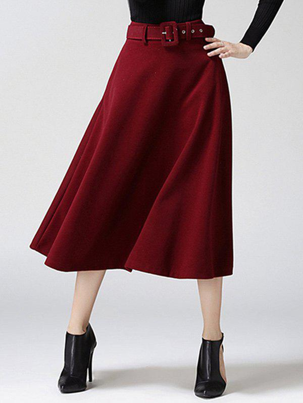 High Waist Pure Color Tweed Midi SkirtWOMEN<br><br>Size: M; Color: WINE RED; Material: Cotton Blends,Wool; Length: Mid-Calf; Silhouette: A-Line; Pattern Type: Solid; Season: Fall,Winter; Weight: 0.733kg; Package Contents: 1 x Skirt;