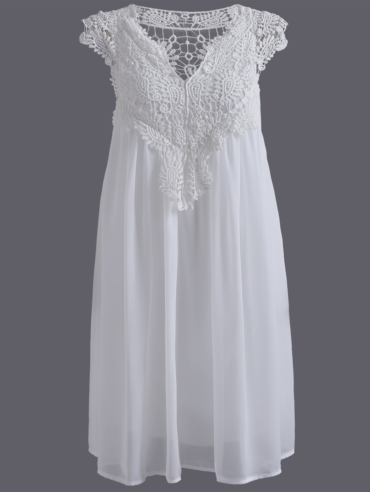 Crochet Panel Short Plus Size Shift Babydoll DressWOMEN<br><br>Size: 5XL; Color: WHITE; Style: Casual; Material: Lace,Polyester; Silhouette: A-Line; Dresses Length: Mini; Neckline: V-Neck; Sleeve Length: Short Sleeves; Pattern Type: Patchwork; With Belt: No; Season: Summer; Weight: 0.3300kg; Package Contents: 1 x Dress;