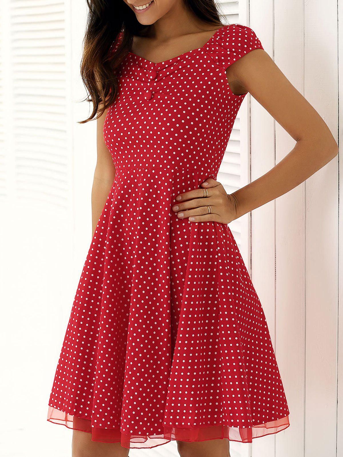 Chic Vintage Spliced Buttoned Polka Dot Swing Dress
