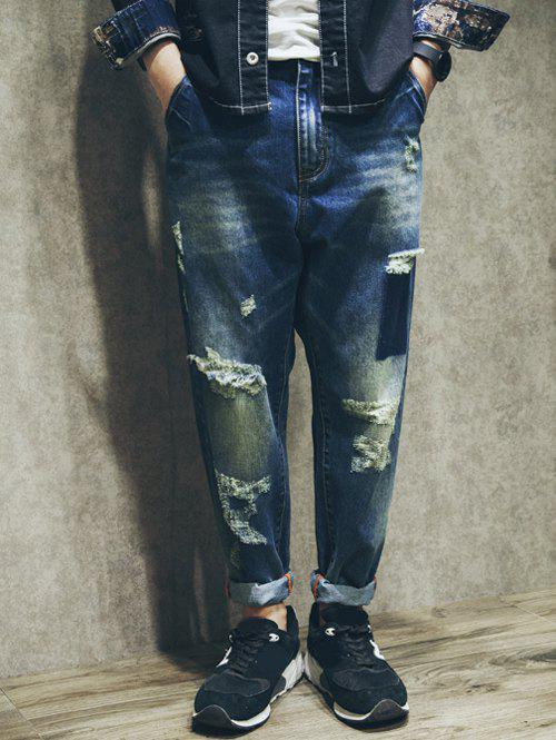 Unique Camo Letter Print Spliced Zipper Fly Ripped Jeans