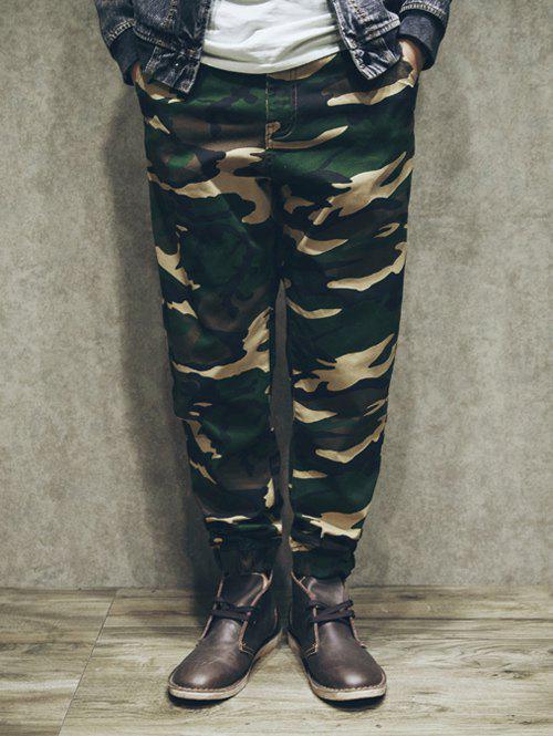 Hot Loose-Fitting Camo Zipper Fly Patch Pockets Back Jogger Pants