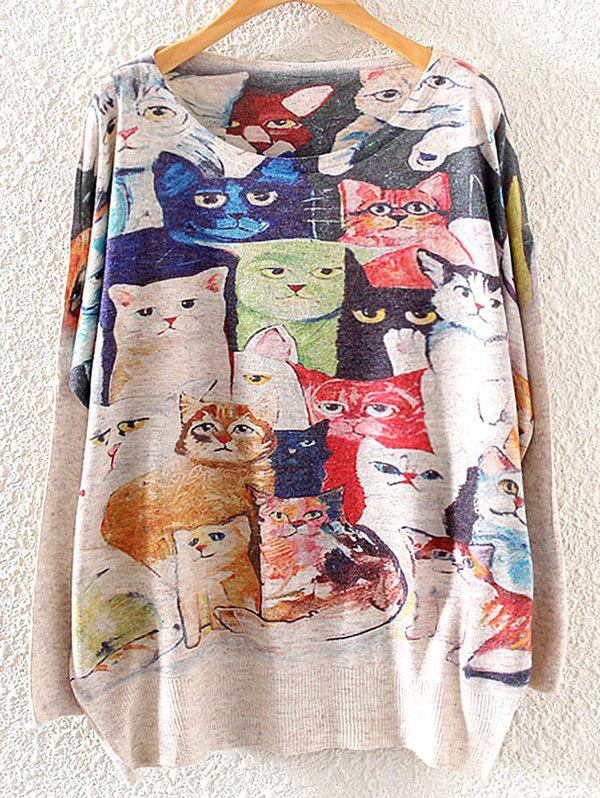 Cats Print Loose KnitwearWOMEN<br><br>Size: ONE SIZE; Color: LIGHT KHAKI; Type: Pullovers; Material: Cotton,Polyester; Sleeve Length: Full; Collar: Boat Neck; Style: Casual; Pattern Type: Animal; Season: Fall,Winter; Weight: 0.3900kg; Package Contents: 1 x Knitwear;
