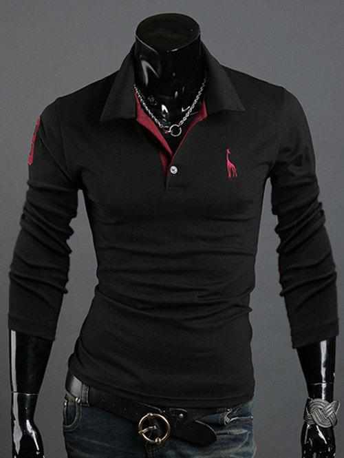Animal Print Long Sleeve Slim-Fit Polo T-ShirtMEN<br><br>Size: M; Color: BLACK; Material: Cotton Blends; Sleeve Length: Full; Collar: Turn-down Collar; Style: Casual; Pattern Type: Animal; Season: Fall,Spring; Weight: 0.219kg; Package Contents: 1 x T-Shirt;
