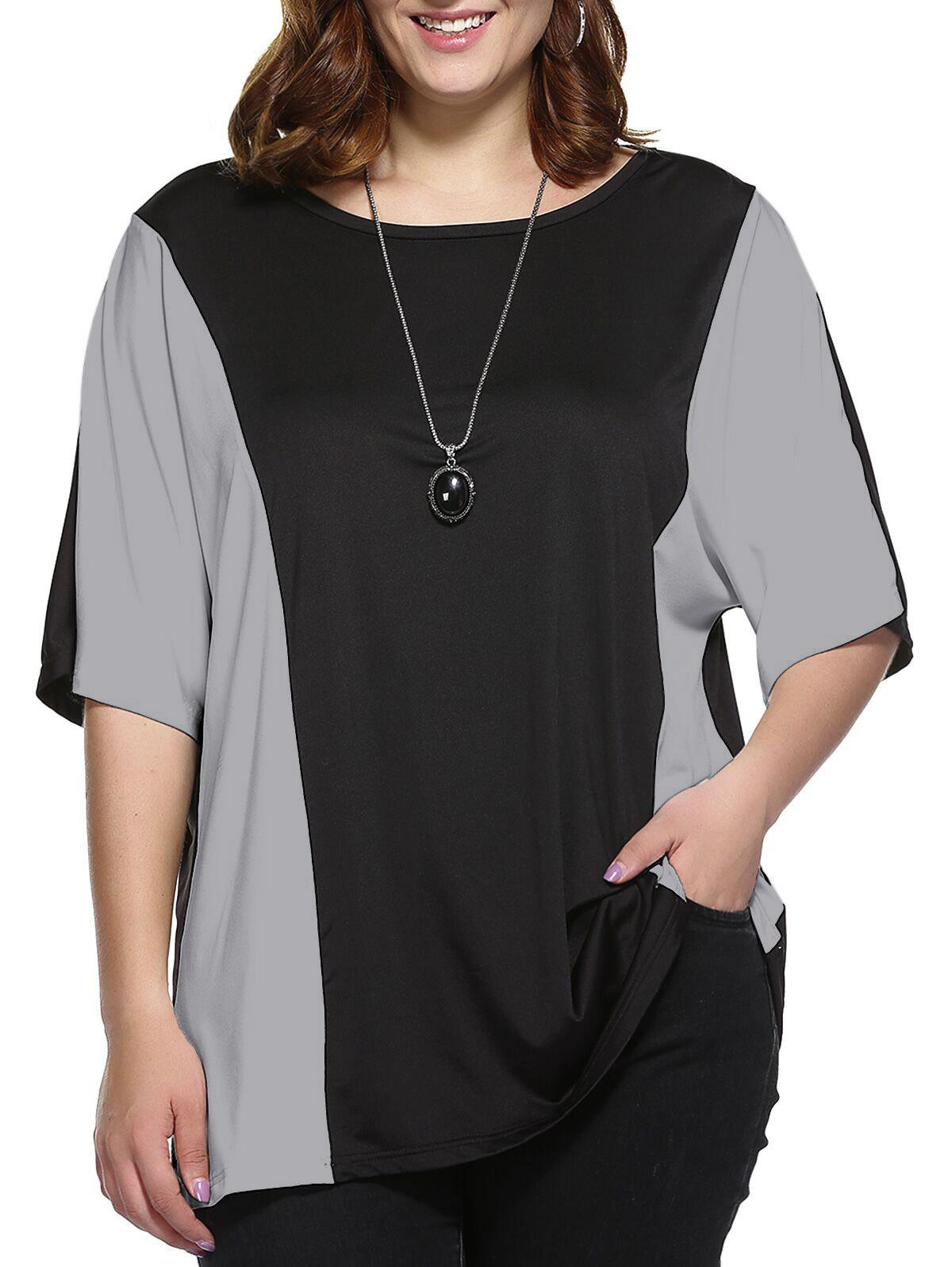 Plus Size Color Block BlouseWOMEN<br><br>Size: XL; Color: BLACK AND GREY; Material: Polyester; Shirt Length: Long; Sleeve Length: Half; Collar: Round Neck; Style: Casual; Season: Summer; Pattern Type: Others; Weight: 0.229kg; Package Contents: 1 x Blouse;