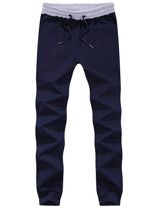 Buy Lace-Up Color Block Spliced Beam Feet Jogger Pants