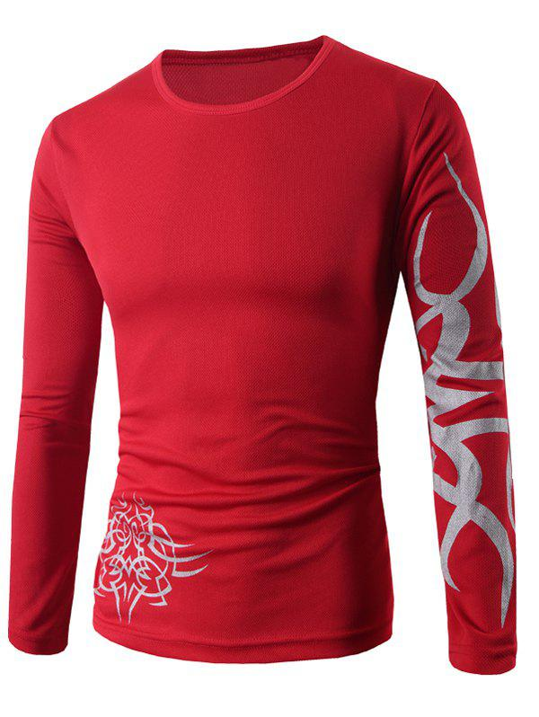 Round Neck Long Sleeve Dragon Print T-ShirtMEN<br><br>Size: 2XL; Color: RED; Material: Cotton Blends; Sleeve Length: Full; Collar: Round Neck; Style: Casual; Pattern Type: Animal; Season: Fall,Spring; Weight: 0.1930kg; Package Contents: 1 x T-Shirt;