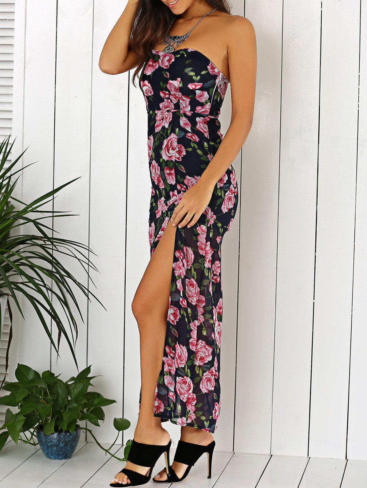 2019 Summer Maxi Floral Print Strapless Dress | Rosegal.com