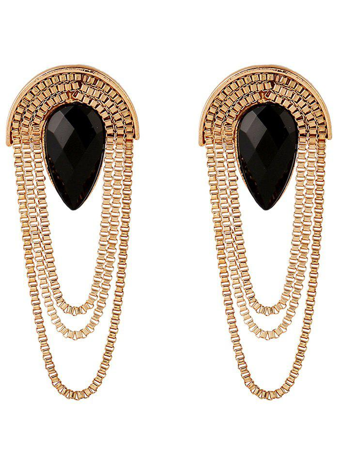 Faux Gem Tassel Chains Drop EarringsJEWELRY<br><br>Color: BLACK; Earring Type: Drop Earrings; Gender: For Women; Style: Gothic; Shape/Pattern: Others; Weight: 0.041kg; Package Contents: 1 x Earring (Pair);
