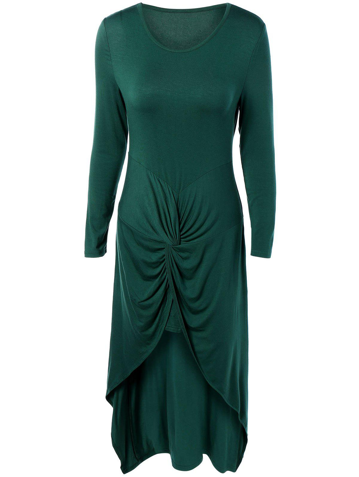 Fashion Long Sleeve High Low Front Knot Maxi Dress
