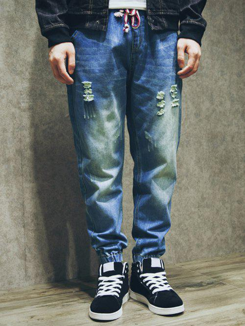 Online Drawstring Double Welt Pockets Back Scratched Ripped Jogger Jeans