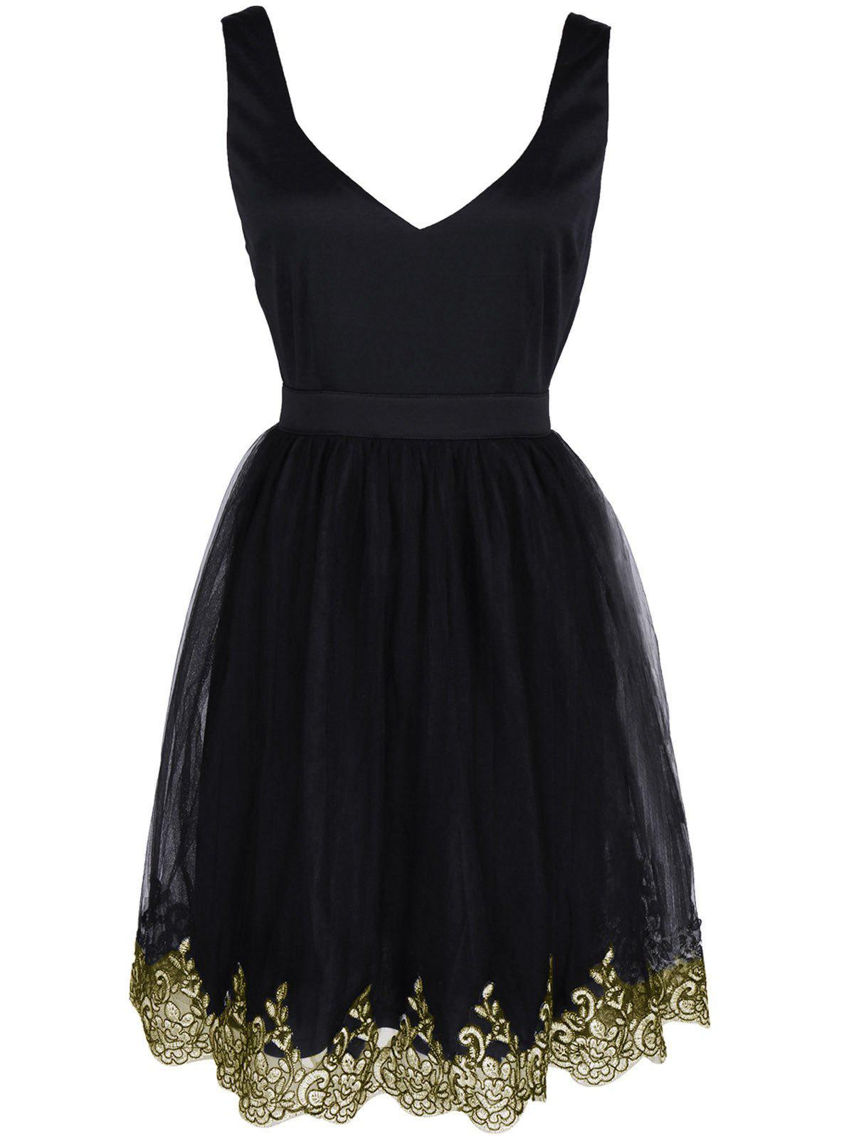 Shops Alluring Women's Floral Embroidered Lace Spliced Dress