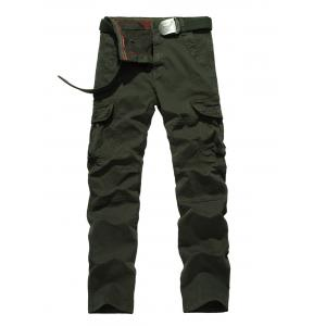 Plus Size Zipper Fly Straight Leg Pockets Embellished Cargo Pants