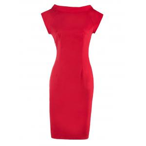 Retro Bowknot Design V Neck Slit Bodycon Dress