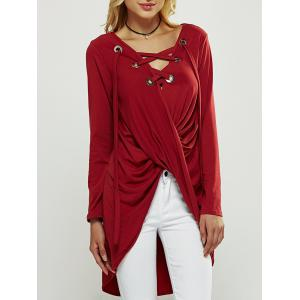 Cut Out Long Sleeve High Low Blouse