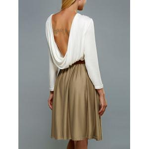 Long Sleeve Backless A Line Dress - White - S