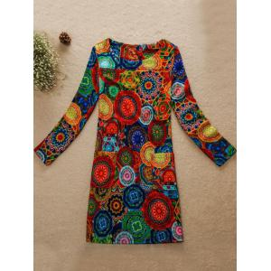 Round Pattern Jewel Neck Dress