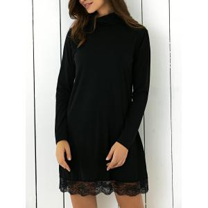Turtle Neck Lace Spliced Shift Mini Dress - Black - Xl