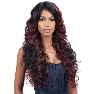 Long Side Parting Wavy Multi Synthetic Wig - Colormix