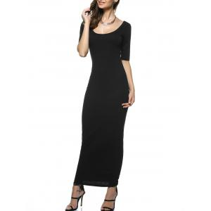 U Neck Long Backless Fitted Evening Dress - Black - S