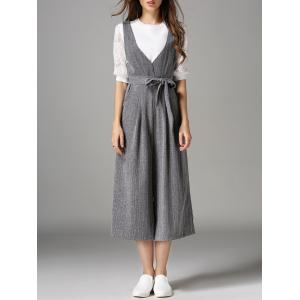 Plunging Neck Bowknot Design Jumpsuit - Gray - M