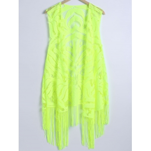 Lace Fringed Cardigan Long Beach Kimono Cover Up - Neon Green - L