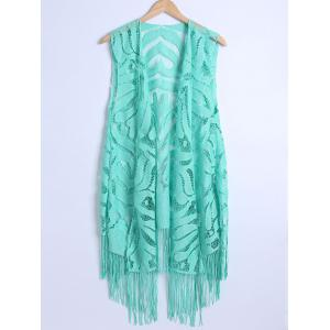 Lace Fringed Cardigan Long Beach Kimono Cover Up - Tiffany Blue - L