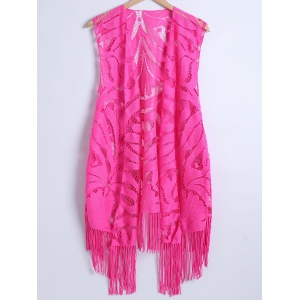 Lace Fringed Cardigan Long Beach Kimono Cover Up - Rose - L