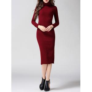 Turtleneck Ribbed Bodycon Midi Knit Dress - Wine Red - L
