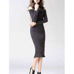 Turtleneck Open Shoulder Bodycon Midi Knit Dress - Gray - M