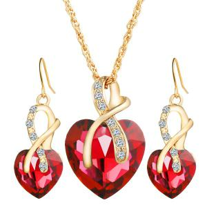 Faux Diamond Crystal Rhinestone Heart Wedding Jewelry Set - Red - 5xl