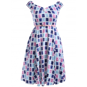 Oversized Colorful Plaid Print Pin Up Skater Dress - Blue And Pink - 2xl