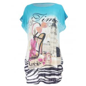 Pumps Print Loose-Fitting T-Shirt - Water Blue - One Size
