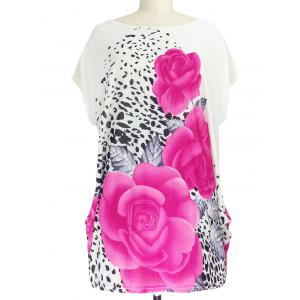 3D Floral Print Ruched Leopard Pattern T-Shirt - Red - One Size