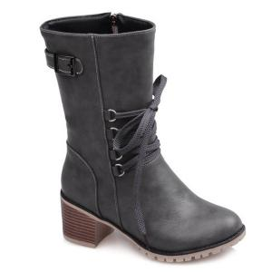 Buckle Tie Up Mid Calf Boots - Gray - 37