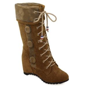 Faux Fur Hairball Tie Up Mid Calf Boots