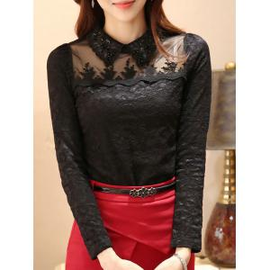 Flat Collar Rhinestone Mesh Spliced Translucent Lace Blouse