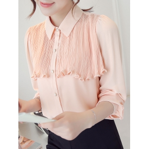 Flounced Pleated Long Sleeve Shirt