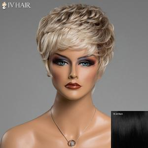 Prevailing Inclined Bang Siv Hair Capless Fluffy Curly Short Human Hair Wig
